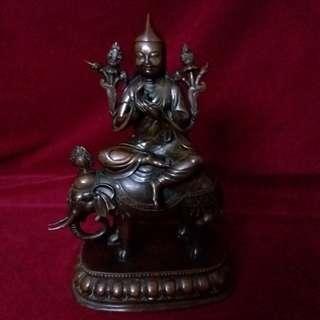 藏传佛教的珍藏 - 至尊宗喀巴大师骑象铜塑像