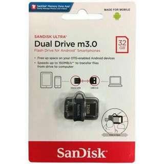 Sandisk Ultra Dual Drive M3.0 32GB OTG SDDD3-32G with DOWNLOADS