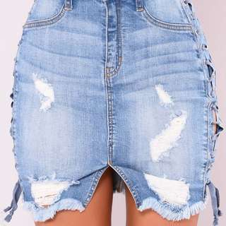 Fashion Nova Lace Up Jean Skirt
