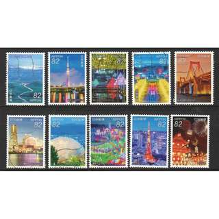 JAPAN 2016 NIGHT VIEWS SERIES NO. 2 COMP. SET OF 10 STAMPS IN FINE USED CONDITION