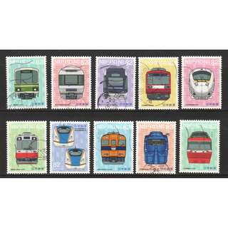 JAPAN 2016 RAILROAD SERIES NO. 4 (ILLUSTRATION VERSION) COMP. SET OF 10 STAMPS IN FINE USED CONDITION