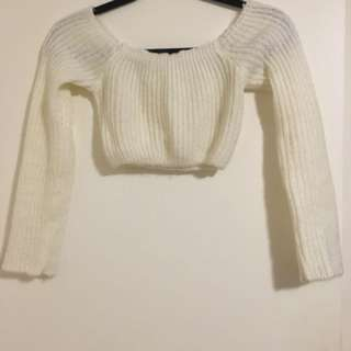M Boutique Cropped Off The Shoulder Sweater