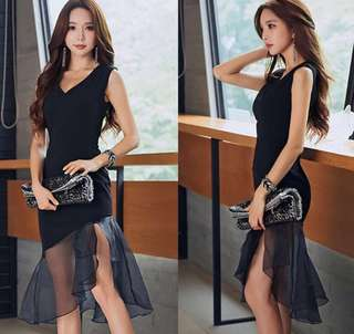 Instock!! Price Reduced!! Great Sale!! Brand New With Tag And In Plastic Korean Style Sleeveless V Cut Front/V Cut Neckline/V Neck Asymmetrical Mesh Hem Maxi/Long/Prom/D&D/Ballroom/Dinner/Gown/Evening/Party Dress