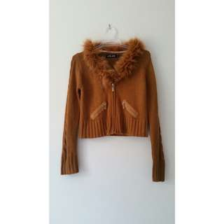 Knitted crop fur coat