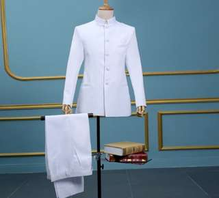 Wedding Men white mandarin collar suit collar wedding
