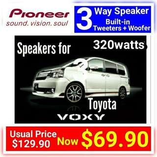 "Toyota Voxy Car speaker by Pioneer  - 3 Way 320watts  Coaxial Speaker with Mica Multilayer Cone. 6.5""/16cm size. model TS-A1676. UP: $129 Special Offer: $69.90."