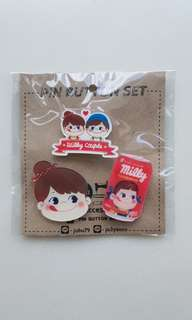 BN Milky Couple Pin Button Set - Red