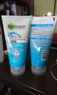 Garnier Pure Active 3in1 Multi Action WASH, SCRUB & MASK