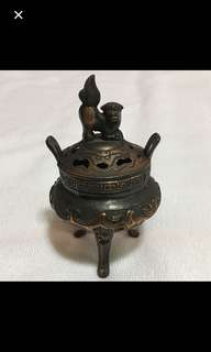 {Collectibles Item - Vintage Bronze Burner} Solid & Heavy Lion 狮子 Holder Lid Antique Bronze Burner