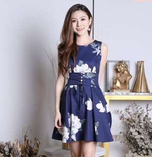 🌷(In Stock) Lindsey Floral Waist Tie Dress Navy