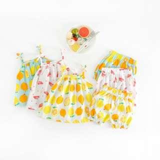 🔊🔊🔊5月新貨!!!😘😘😘😘  👑夏季水果系列~☑北鼻BABY 蝴蝶結吊帶短褲套裝(預購)