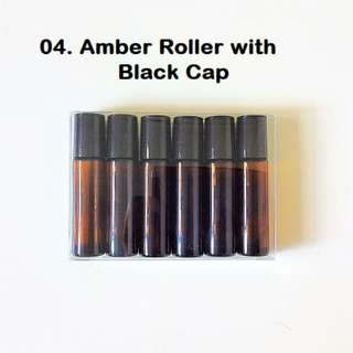 6 for $10 Amber Brown Rollers with Black Caps  | 10ml Amber brown rollers | Thick Glass Roller bottles with Stainless steel roller balls