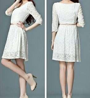 Korean Style Lace Long Sleeve Dress NEW