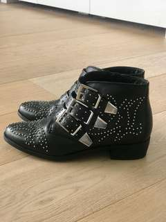 Office London Leather Studded Boots