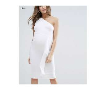 ASOS MATERNITY one-shoulder white bardot knot dress UK 8
