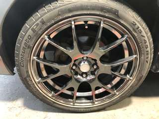 "Used 17"" black chrome Rims and tyres 215/45/17 for sale. 8 holes 4x100 or 4x114.3."