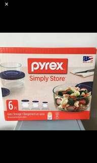 全新Pyrex 圓形玻璃保鮮盒套裝一套3件