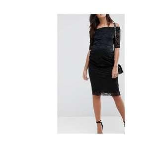 ASOS MATERNITY Bardot Dress with Half Sleeve in Lace UK 8