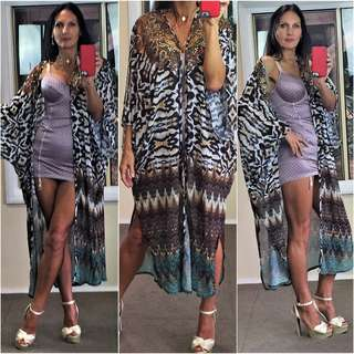 NEW CAMILLA style KAFTAN jacket coat LONG M tiger leopard bejewelled floaty NWT