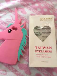 IPHONE5/5s UNICORN CASE & EYELASHES W/LASHESGLUE