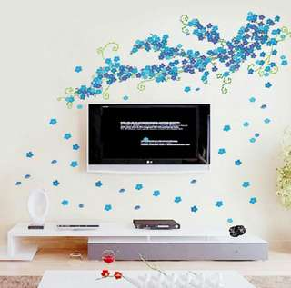 🍀Blue Vine Flowers PVC Wall Sticker Home Decoration🍀