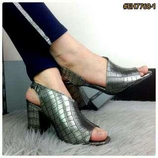 Eliza Madeline Croco Signature Leather Heels