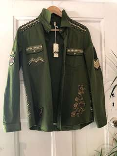 🌿 Panther Embellished Army Jacket XS 💕