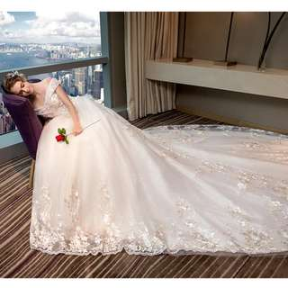 Wedding Collection - Europe Style T-Off Shoulder Design Elegant Long Tail Wedding Gown