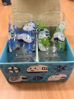 全新-日本製Sanrio 新幹線玻璃水杯(2002年出品)