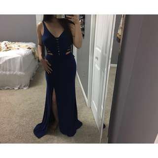 Navy Blue Cutout Gown
