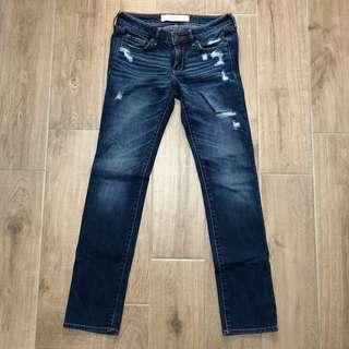 """Sz 0S 0 Short W25 A&F Abercrombie & Fitch """"The A&F Skinny"""" blue denim skinny jeans"""