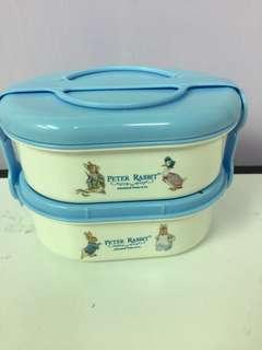 全新比得兔卡通雙層餐盒/便當盒/學童孩童/學校