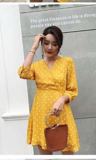 Polka dots mustard dress