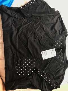 H&M black polka dots t shirt