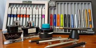 Pens, pencils, inks, notebooks and leather accessories.