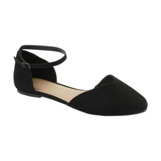 ankle strap ballerina flats in black