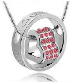 Sale! Crystal Heart Pendant Necklace - Silver White Plated with Rose Pink Crystals