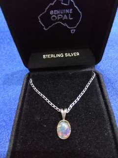 Opal & sterling silver necklace