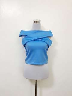 Blue Wrap Around Top