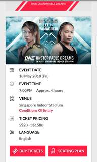 (2 tickets) One Championship 18 May