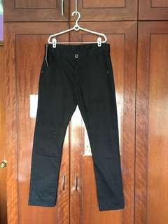 Men's Black Pants 100% Cotton Smart Casual Wear Slim Fit