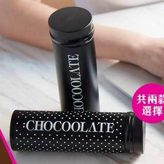 旅行/運動/行山用品 - 全新 :CHOCOOLATE 黑白型格保溫杯 350ml 純黑 尺寸: 19 cm(H) x 6 cm(W)
