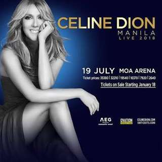 Celine Dion Lower Box Concert Ticket