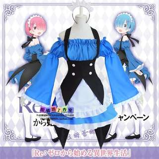 COSPLAY COSTUME REM&RAM blue maid ver.