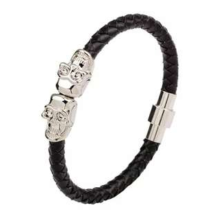 Men Leather with Magnetic Buckle Skull Decor Braided Bracelet