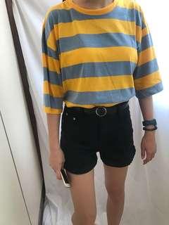 黃藍條紋上衣