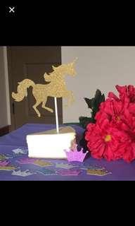 Glitter unicorn cake topper