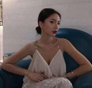 韓國 復古百搭溫柔色系寬松顯瘦V領慵懶式金屬鏈吊帶衫女純色背心