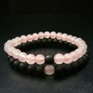 🚚 Special sales: 6mm Rose Quartz Bracelet Onyx Distance Bracelets, Couple Bracelets, Be my Valentine's Bracelet