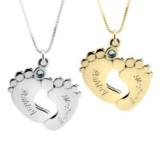 24k Gold Plated/925 Sterling Silver Engraved Baby feet with birthstone Necklace